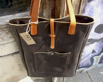 Leather dark brown bag Leather shoulder bag Leather tote bag