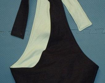 sling-black denim with light mint green fleece