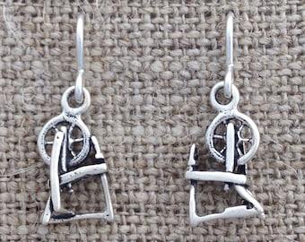 spinning wheel earrings - sterling silver dangles