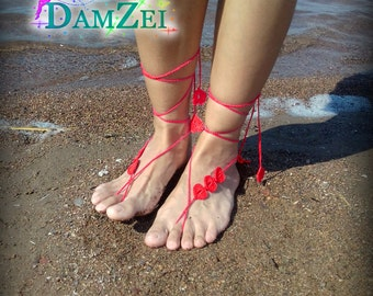Wedding Barefoot Sandal, Crocheted Heart Anklet, Red Barefoot Sandal, Lace Barefoot Sandal, Barefoot Anklet, Foot Jewelry