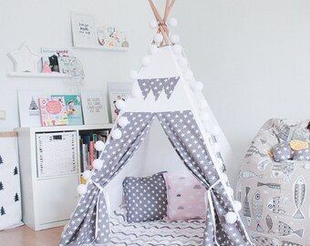 "FREE SHIPPING teepee ""Gray stars for girls"", kids teepee play tent wigwam, children's teepee, playtent, wigwam, kids teepee, play teepee"
