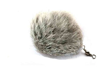 Cat Teaser Wand Refill with Gray Rabbit Fur Pom Pom Cat Toy