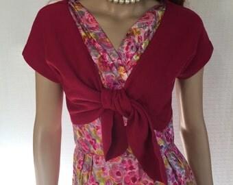 Vintage 50's Pink Rockabilly Bolero Sweater - Retro Pink Sweater Jacket -  1950s Wool Shrug