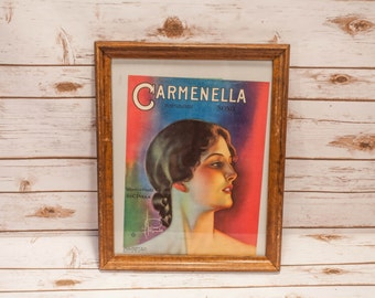Vintage 1920s Carmenella Sheet Music, WC Polla, Rolf Armstrong, Framed Music Sheet Art FREE SHIPPING