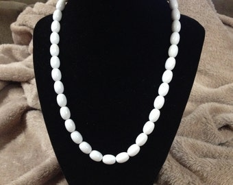 Vintage White Beaded Necklace, 18'' Long