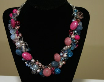 Pink, Blue wire crochet jewelry, crochet bead jewelry, Crochet Wire, Wire Jewelry,  Crochet BeadNecklace, Statement Necklace, Bib Necklace