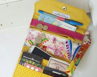Women's wallet in leather and fabric Animal Popsafari