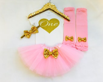 Gold and pink first birthday outfit, 1st birthday outfit, gold glitter one bodysuit, first birthday, pink gold first birthday, gold birthday