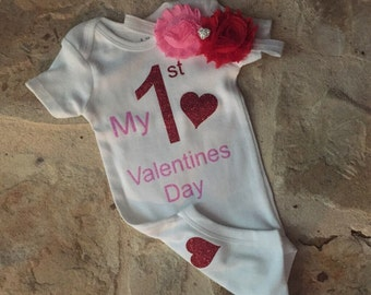 My first valentines day outfit, valentines bodysuit and headband set, valentines headband, newborn, baby, girl, first valentines day