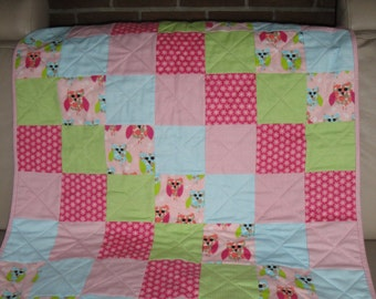 Flannel Baby Quilt - Pink Owl