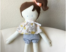 Handmade doll clothes for Handpicked by Ruby dolls, Fashion cape and bloomer set, mustard yellow, peach, and gray