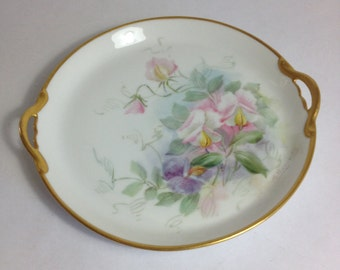 Simple Elegance - Hand Painted Floral Plate, Signed