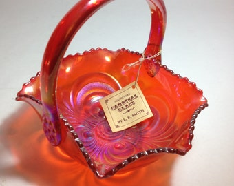 L.E. Smith Carnival Glass Basket - Embossed Scroll w/tag