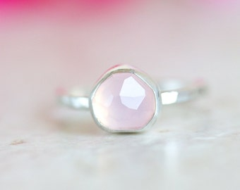 Rose Quartz Ring, Rose Cut Rose Quartz Ring, Pink Gemstone Ring
