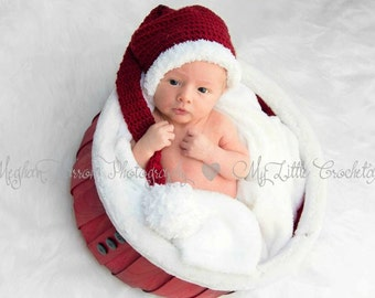 Newborn Christmas Hat, Baby Christmas Hat, Newborn Christmas Stocking Cap, Newborn Christmas Crochet Hat, Christmas Hat Newborn, Baby Hat