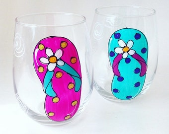 Flip Flop Hand Painted Wine Glass / Painted Glassware / Beach Nautical Gift / Glasses / Whimsical