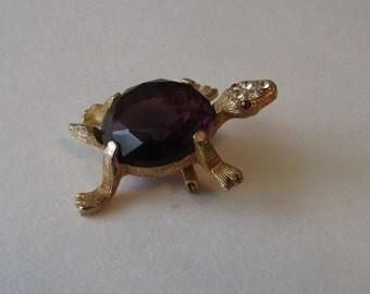 Vintage Turtle Purple Rhinestone Pin Brooch