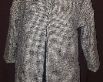 Ladies cocoon wool coat grey fleck with funky lining