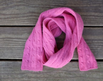 Pink Scarf, Cable Knit, Wool/Nylon/Cashmere
