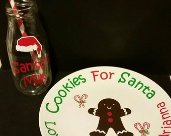 Santa's milk and cookies plate and cup set.  Free personalization!