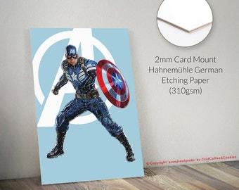 """12"""" x 16"""" Captain America, Marvel Avengers Giclee Print"""