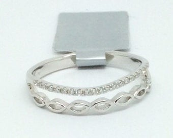 14K White Gold Natural Diamond Stackable/ Band