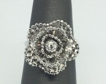 18K White Gold Diamond Cut Flower Ring