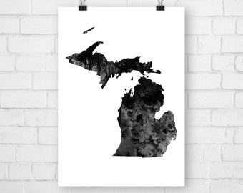 Poster Michigan State, Watercolor, Map Art Print, Artwork, Michigan Print, Michigan Art Print, Michigan Poster, Michigan Wall Art, Michigan