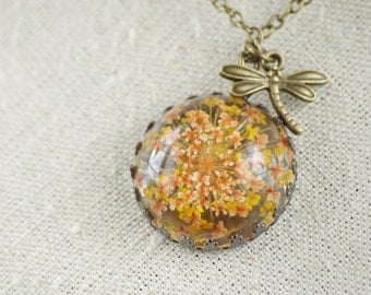 Yellow flower necklace Real Flower Necklace Terrarium Jewelry Antique bronze pendants Botanical necklace  Necklace dragonfly Christmas gift