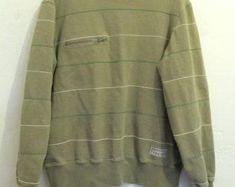 A Men's Vintage 80's,Mod Striped Green Sweatshirt by ADIDAS.M