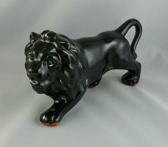 Vintage Ceramic Black Lion Figurine Ceramic Cat Figurine