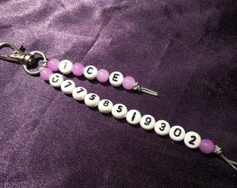 I.C.E. / SOS In Case of Emergency phone number Clip Charm / Key Ring