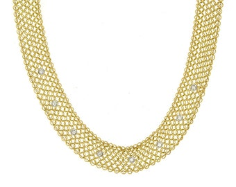 Diamond Mesh 18k Yellow Gold Necklace - Mesh Necklace - Necklace for Women - Anniversary Gifts for Her -