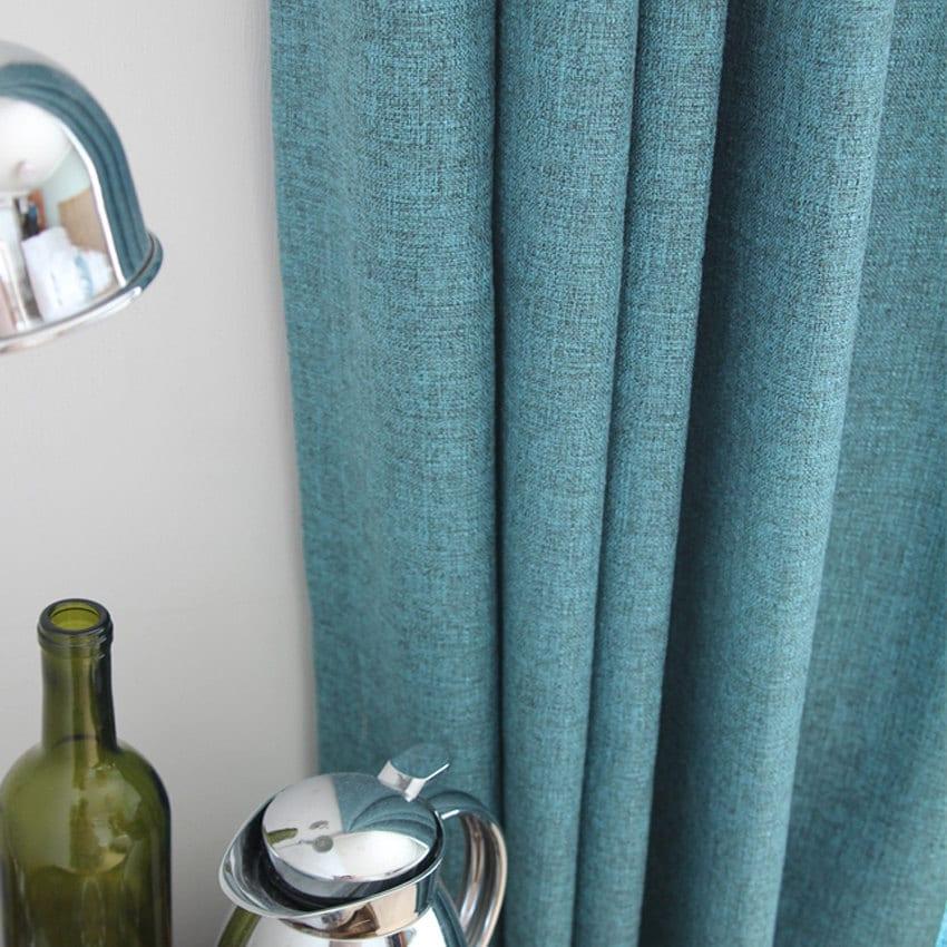faux linen turquoise semi sheer curtain
