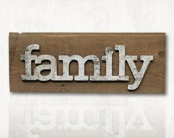 Rustic Birch Bark Family Sign • Birch Bark Letter •  Family Sign • Family