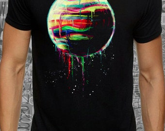 Men or women #color  #planet print on #black #lose or #tight #cotton #t-shirt available big sizes - #dream #tee