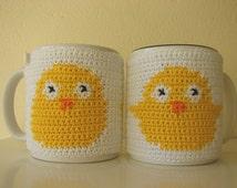 Mug cozy Easter | Easter gift | cup cozy chick | coffee cozy | sleeve cozy | crochet cozy | animal cozy | crochet spring | crochet duck