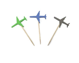 24 airplane toothpicks, baby shower, airplane birthday, airplane party, appetizer picks, food picks, airplane cupcake toppers, travel party