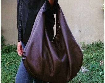 SUMMER SALE Large hobo Bag, brown soft leather hobo bag, leather hobo bag, boho bag, hobo bag large, brown leather bag, hobo bag brown, genu