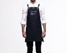 Denim Chest Zipper-Pocket (Dark Navy) by ARC1 - Denim apron for barista, chef, cafe, restaurant