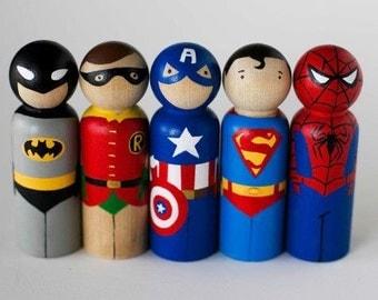 SUPERHERO Peg Doll Set