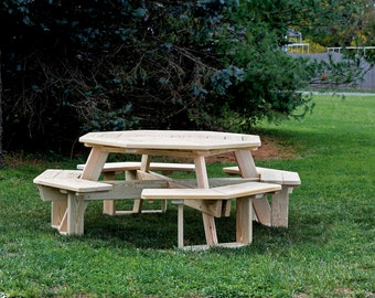 5 Foot Octagon Picnic Table with Attached Benches *PAINTED* 7 Color Options - Pressure Treated Pine -  Amish Made in USA
