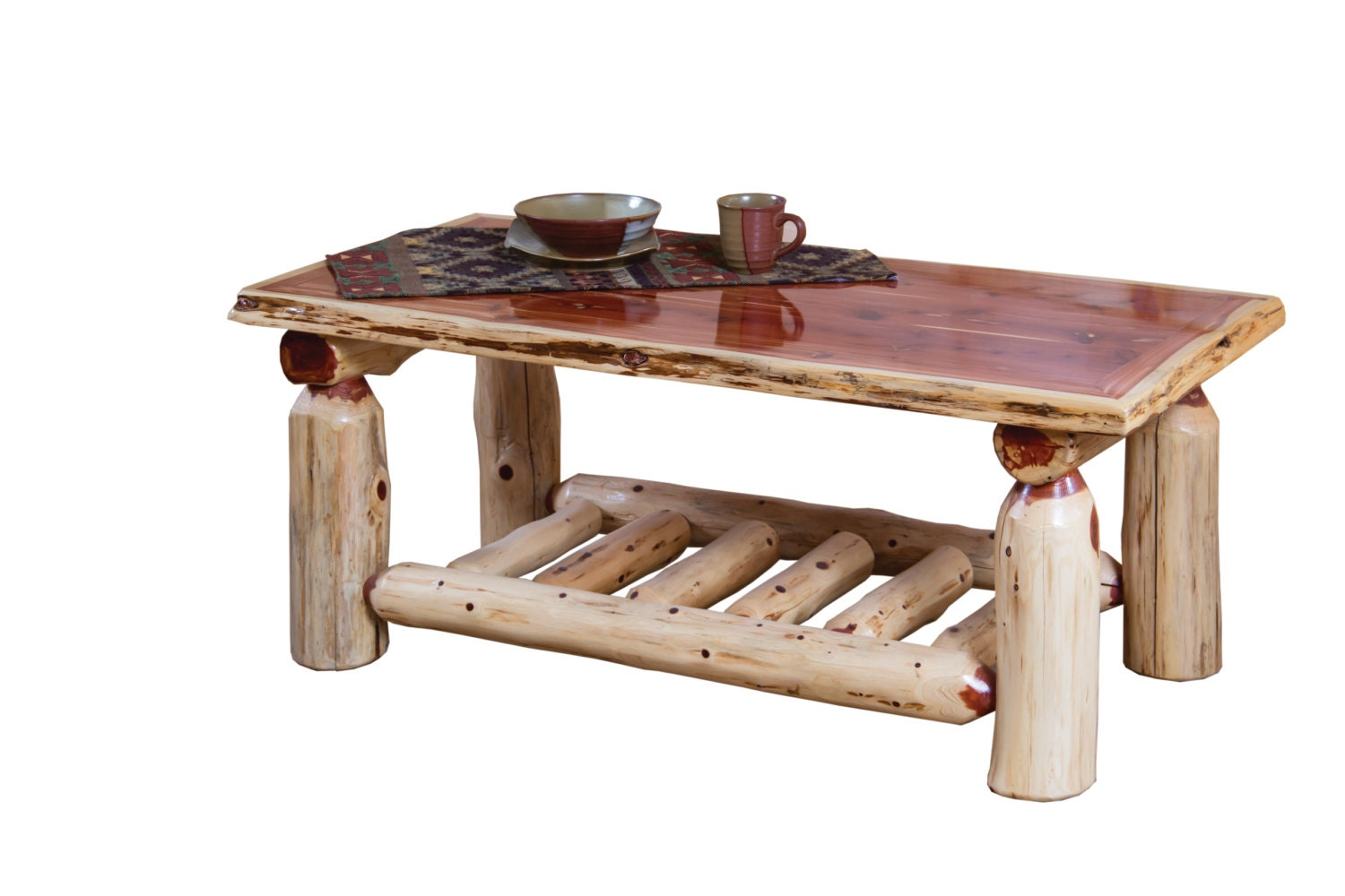 Rustic red cedar log coffee cocktail table with shelf amish