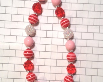 Girl's Chunky Bubblegum Bead Necklace, Red, Pink, White Chunky Necklace