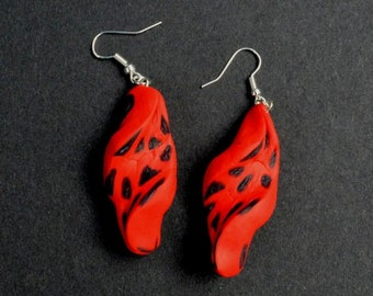 Red Drop Earrings, Large Red Earrings, Statement Jewelry, Gift For Her, Christmas Gift, Hand Made Earrings, Funky Earrings, Funky Jewelry