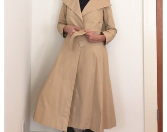 Vintage Tan Women's Trench Coat - John Anthony Long Trench Coat - Classic Trench - Summer Raincoat