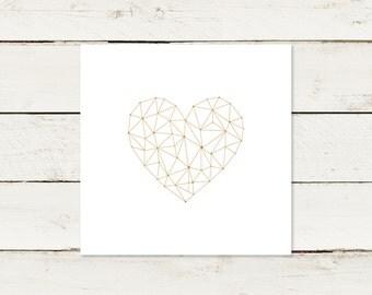 Wedding invitation   Gold print heart