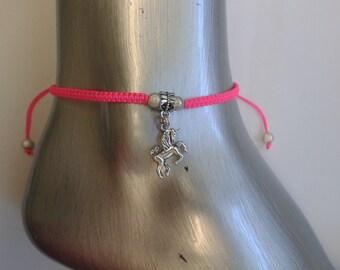 Unicorn anklet - unicorn charm - mystical creature - neon - fantasy - foot jewelry - ankle jewelry - boho jewelry - beach jewelry