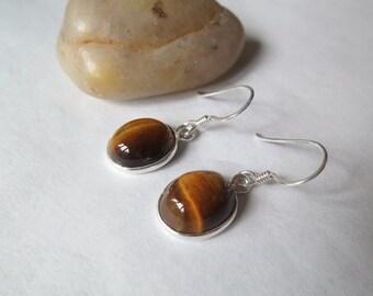 Silver tiger eye earrings, set in 92.5 sterling silver, free shipping