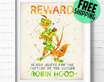 Disney, Robin Hood Wanted, Poster, Watercolor Painting, Wall Art Print, Baby Room Art, Nursery Decor, Home Decor, Kids Gift, 173